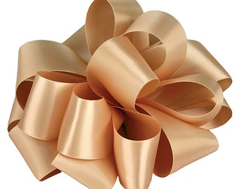 "Satin Ribbon, 5/8"" Double Sided, Raw Silk - TWENTY YARD ROLL - Offray #3 Double Face Satin, Dark Golden Cream Raw Silk #826, Sewing Trim"