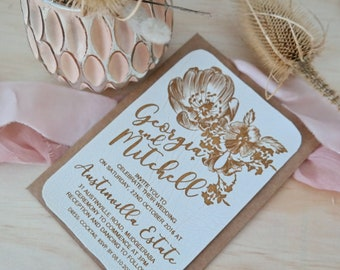 Floral Wedding Invitations, laser engraved white faux leather stationery. Pack of 10.