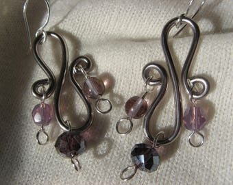 """Fancy """"Marquise"""" lilac crystal earrings silver plated"""