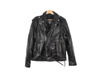 Vintage 80s Black Leather Motorcycle Jacket Size L
