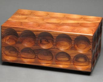 Bolivian Rosewood Jewelry Box, Removable Trays for Watches, Rings, Earrings, etc.