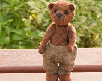 Teddy bear Leo 7.5 inches (19 cm) OOAK,  brown plush