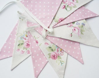 Fabric Bunting, Cottage Chic Banner, Pink and Light Beige, Floral and Dots, Pennant Banner, Wedding Bunting, Baby Bunting, Various Lengths