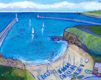 The Haven ( Tynemouth ) Mouth of the Tyne - coastal art - seaside print - coastal landscape -  from a colourful painting by Joanne Wishart