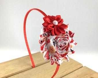 Red Cherry Blossom Hard Headband, Red Headband, red shabby Child Headband, Red Adult Headband, Satin wrapped headband