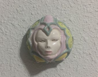 Figurative Sculpture Paperweight Ceramic Sculpture Wall Art Figurative Relief Figurative Art Face Mask Fantasy Art Clay Art Porcelain