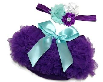 Baby Bloomer, Purple Ruffle Bloomer and Headband, Baby Photo Prop, Newborn Bloomer, Ruffle Diaper Cover, Infant Bloomer, Purple and Aqua