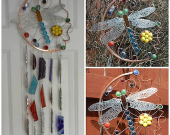 Large Dragonfly Wind Chime Copper With Stained Glass Chimes Outdoor Sturdy