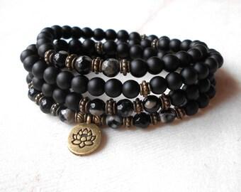Mala Bracelet 108 Mala Black Beads or Necklace Yoga Bracelet Mala Bracelet Woman Mala Bead Bracelet Men Mala Beads 108 Black Prayer Bead