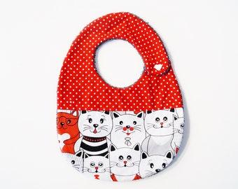 Red cat baby bib