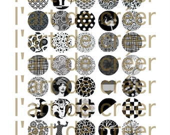 Digital prints of 40 cabochons 18 mm, black and white