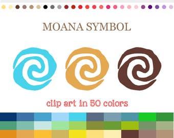 50 Colors Digital MOANA SYMBOL Clipart Moana Sun Symbol Clip Art Rainbow Moana Digital Symbol Shape Scrapbooking Crafting #C003