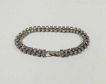 Rhinestone Bracelet, Silver Tone Metal, Clear Rhinestones, 2 Rows of Clear Stones, Estate Jewelry, Vintage Collectible Jewelry