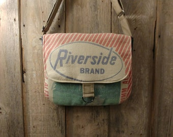 Vintage Lynnville Seed Co., Iowa Riverside seed sack upcycled