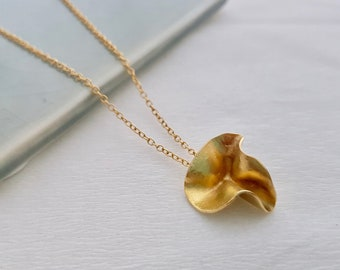 Gold Ruffle Necklace,  Botanical Necklace, Gold Flower Pendant, Organic Necklace, Pretty Gold Pendant, 18ct Gold Plated, Handmade UK