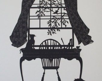 Afternoon Tea with Cats Lasercut Silhouette