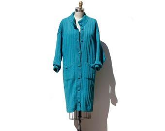 Vintage Turquoise Slouchy Bulky Oversize Cardigan Sweater Coat