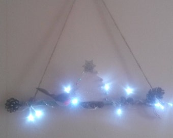 Christmas Illuminated Decorative Birch Branch,With Robin,Pinecones,Acorn,Glitter Snow,Lights and Christmas Tree.