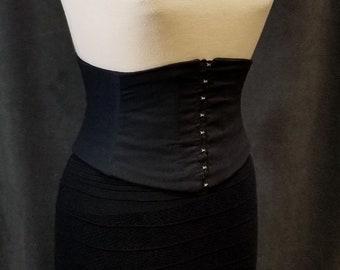 Hook and Eye Front Closure Corset Belt / Black Cotton Lace Up Underbust Waist Cincher / Obi Belt / Steel Boned / Waspie