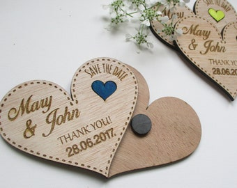 Wedding Save the Date Set of 10 / Wedding Painted Magnets / Engraved Wooden Wedding Decoration/ Personalised Rustic Wedding Favor