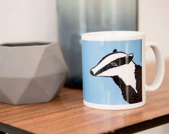 Blue Badger Mug - badger mug - badger cup - Ceramic - drink - tea - coffee - lino print - lino cut - blue mug - stocking filler - animal