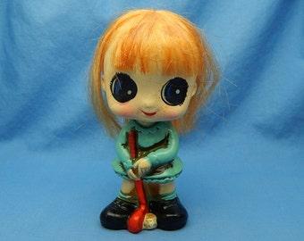 Enesco Redhead Bobble Head, Vintage Golfing Girl Nodder, Big Eyed Girl Figurine Bobblehead