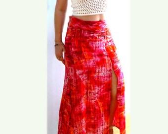 Sorbet maxi slit skirt- Red boho summer skirt- Women skirt-size 6- Orange pink skirt- Slit long casual skirt- fashion  skirt-Tie dye skirt