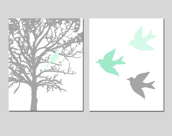 Mint and Grey Nursery Decor Mint Nursery Art Mint and Gray - Bird in a Tree, Three Little Birds - Set of Two Prints - CHOOSE YOUR COLORS