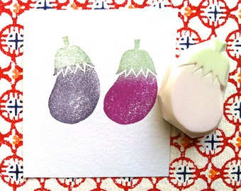 eggplant rubber stamp | vegetable stamp for crafters | cooking garden theme card making | diy art journal | hand carved by talktothesun