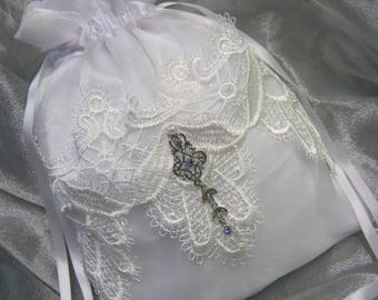 White Organza Keepsake Wedding Bag with Venice Lace
