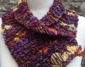 Chunky Knitted Cowl Scarf with Wooden Button in Purple Mix Hand Spun Yarn