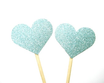 Set of 24Pcs -Double Sided Baby Blue Glitter Heart Party Picks, Cupcake Toppers, Toothpicks, Food Picks