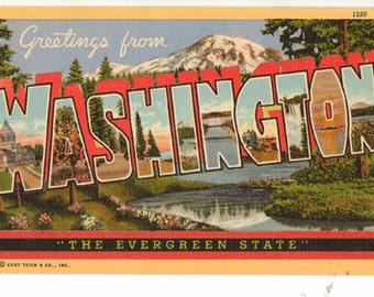 Linen Postcard, Greetings from Washington, Mt Rainier, Large Letter, ca 1950