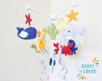 Baby Crib Mobile, Baby Mobile, Nursery Decor Crib Mobile, Ocean Mobile, Under the Sea Creatures, Custom Colors Handmade Felt Toys