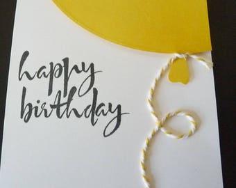 Happy Birthday, Happy Birthday Card, Handmade Card, Birthday, Birthday Card, Balloon, Handstamped, Friend Birthday Card