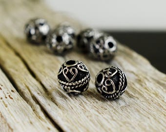 Antique Silver Beads 10mm, Metal Spacer Beads, Silver Tone Bali Style Beads, Jewelry Supplies - 6 pieces