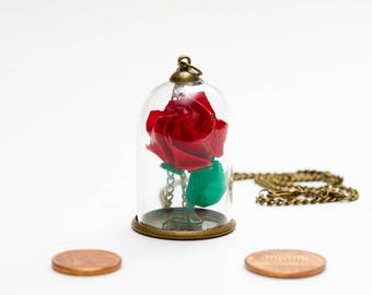 Eternal red rose origami rose pendant under glass dome