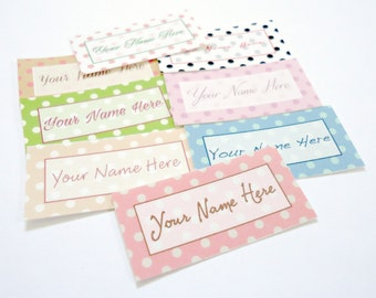 80 Precut Sew On Printed Fabric Sewing Labels - Pretty Polka Dots Pt.1