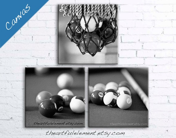 Pool room Billiards wall art Game room decor Black and white canvas art home decor Set of three / Billiard table Set