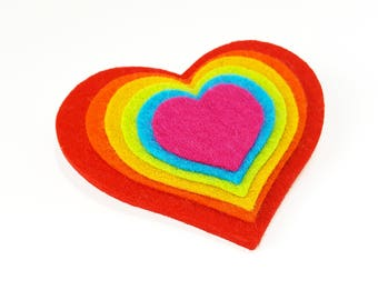 Rainbow Brooch - Felt Brooch - Novelty Brooch - Heart Brooch - Rainbow Jewelry