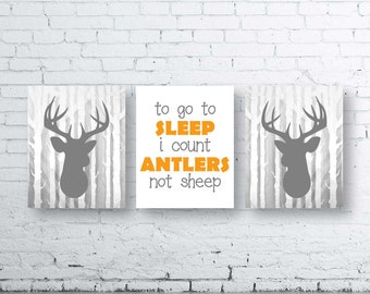 Orange Gray Woodland Deer Wall Art Print Set of Three. Instant Download - Baby Nursery Art Print. To Go To Sleep I Count Antlers Not Sheep.