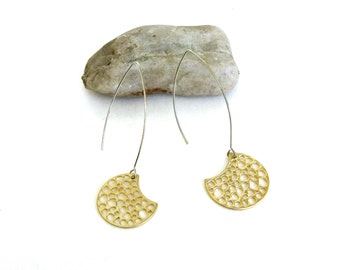minimal.   industrial.    modern earrings.   half moon.