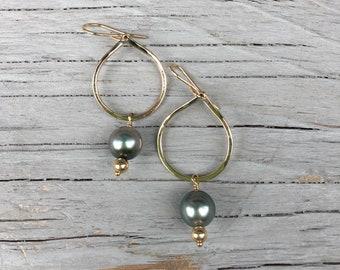 14kt gold fill tahitian pearl teardrop hoop earrings