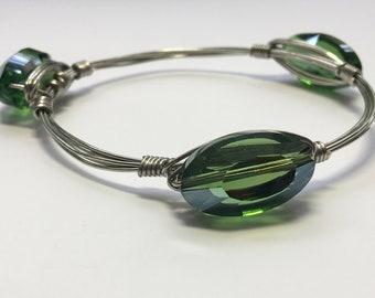 Green glass bead wire wrapped bracelet