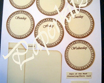 Days of the Week Tags and Pocket Curious Sepia Color Digital Download