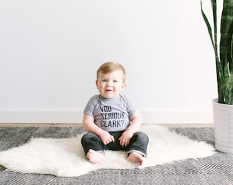 """Christmas Vacation, """"You Serious Clark"""" • Funny Modern Typographic Baby Bodysuit Design • Unique Infant Baby Outfit • FREE SHIPPING"""