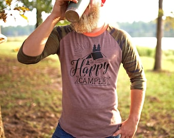 Outdoor Tshirt - Happy Camper Shirt - Happy Camper - Camping Shirt - Mountain Shirt - Hiking Shirt - Mountain Shirts - Camping Shirts - Gift