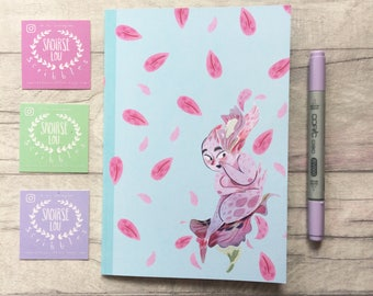 Fairy notebook, limited edition notebook, pastel goth, fairy notepad, petal design, planner addict gift, stationery, cute stationery,
