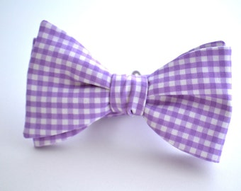 Self Tie Bow Tie, Purple Gingham Bow Tie, Self tie Bow Tie, Lavender Bow Tie, Groomsmen Bow Tie, Wedding Bowties, Purple Bow Tie