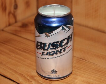 Hand Poured Soy Candle in Handmade Upcycled Busch Light Beer Can